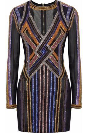 BALMAIN Crystal-embellished tulle mini dress