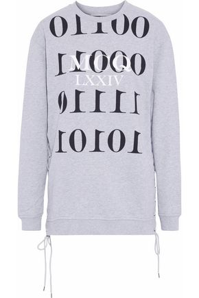 McQ Alexander McQueen Lace-up printed French cotton-terry sweatshirt