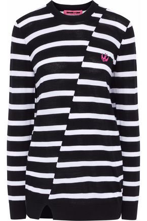 McQ Alexander McQueen Appliquéd striped wool sweater