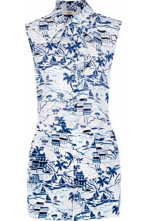 L'AGENCE Behati pussy-bow printed silk playsuit