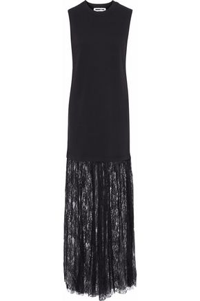 McQ Alexander McQueen Lace-paneled cotton-jersey gown