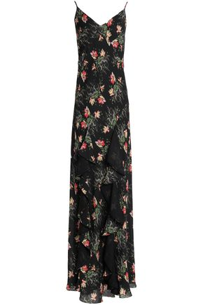VILSHENKO Fluted floral-print silk-georgette gown