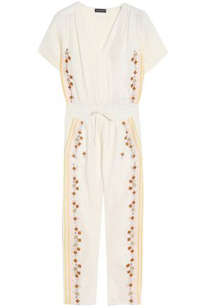 ANTIK BATIK Cropped embroidered cotton-gauze jumpsuit