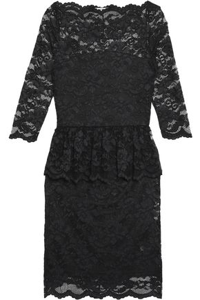 GANNI Ruffled lace peplum dress