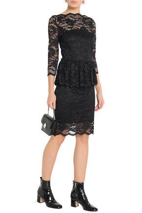 GANNI Ruffled lace peplum dress