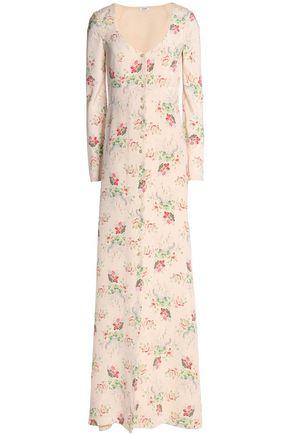 VILSHENKO Floral-print silk gown