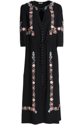 VILSHENKO Embroidered crepe midi dress