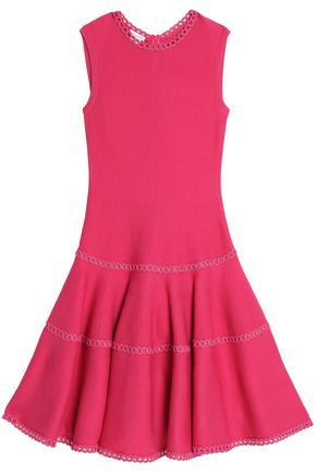OSCAR DE LA RENTA Fluted wool and silk-blend dress