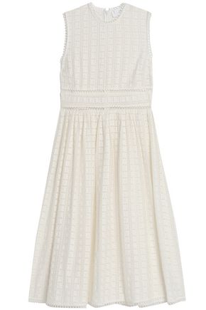 ZIMMERMANN Open knit-trimmed embroidered cotton and silk-blend dress