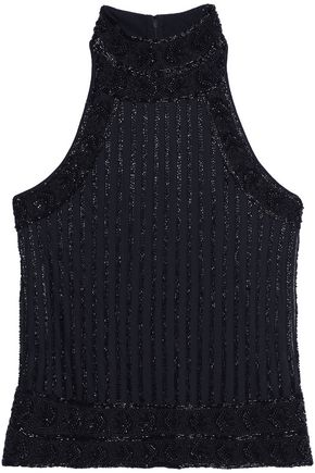 GANNI Bead-embellished mesh top