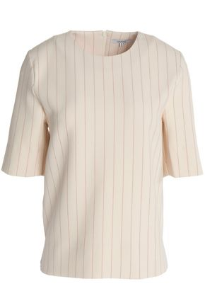 GANNI Pinstriped cady top