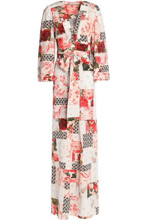 VILSHENKO Printed silk crepe de chine wrap maxi dress