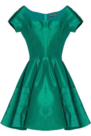 ZAC POSEN Flared pleated duchesse silk-satin mini dress