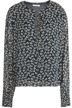 GANNI Printed crepe de chine blouse