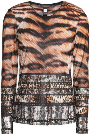 ROBERTO CAVALLI Leopard-print stretch-knit top