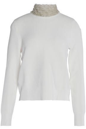 GANNI Loras embellished stretch-knit turtleneck sweater