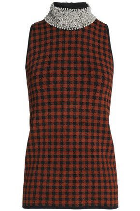GANNI Embellished checked stretch-knit turtleneck top