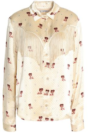 GANNI Fringed printed crepe-satin shirt