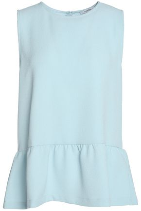 GANNI Textured-crepe peplum top