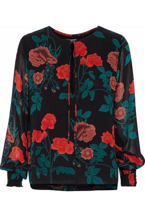 GANNI Floral-print crepe de chine blouse