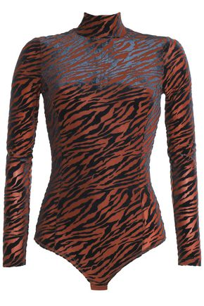 GANNI Zebra-print devoré-velvet bodysuit