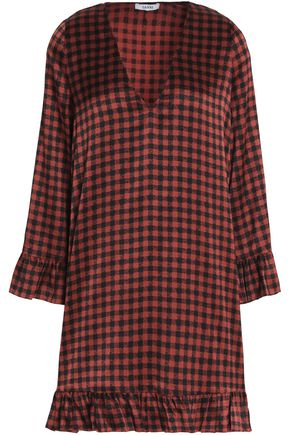 GANNI Checked silk-blend mini dress
