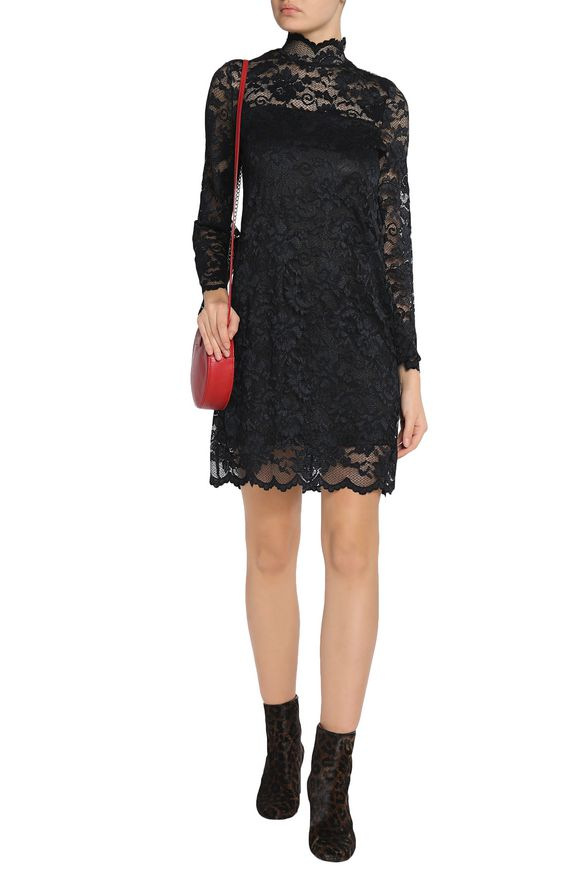 Two-tone lace turtleneck mini dress | GANNI | Sale up to 70% off | THE  OUTNET