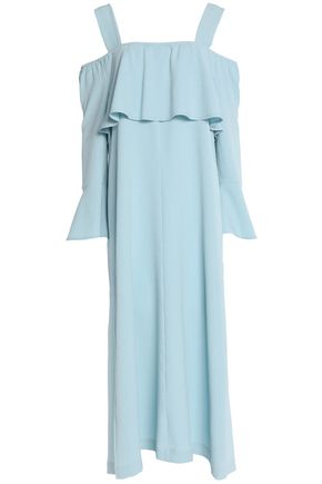 GANNI Cold-shoulder bow-detailed ruffled crepe midi dress