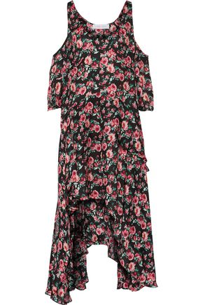 IRO Yvana cold-shoulder ruffled floral-print silk crepe de chine dress