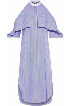 ROSETTA GETTY Layered striped cotton-poplin shirt dress
