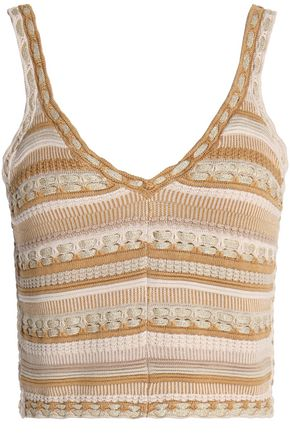 ALICE + OLIVIA Metallic cotton-blend knitted top