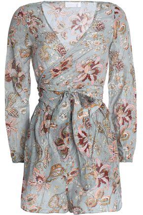 ZIMMERMANN Wrap-effect cutout floral-print cotton and silk-blend playsuit