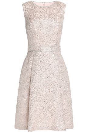 OSCAR DE LA RENTA Pleated metallic brocade dress