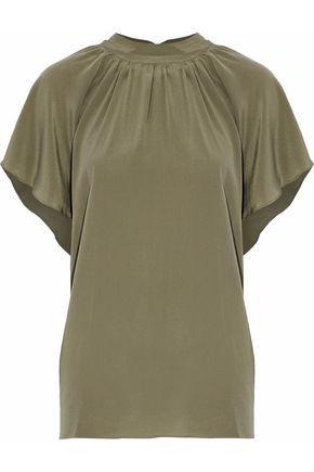 ZIMMERMANN Gathered silk crepe de chine blouse