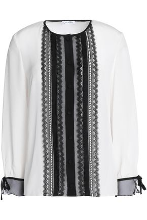 OSCAR DE LA RENTA Lace-trimmed silk crepe de chine blouse
