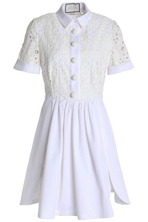 ALEXIS Broderie anglaise cotton mini dress