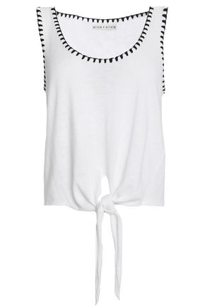 ALICE + OLIVIA Knotted cotton top