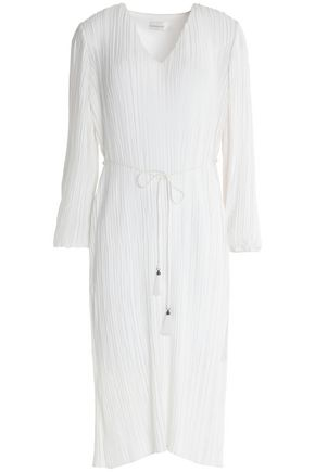 ZIMMERMANN Belted pleated crepe de chine dress