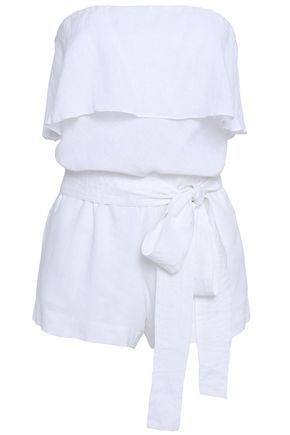 VIX PAULA HERMANNY Strapless belted linen-blend playsuit