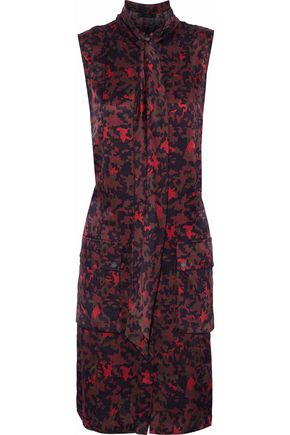 BELSTAFF Printed silk-satin mini dress