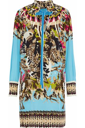ROBERTO CAVALLI Velvet-trimmed printed silk-satin dress