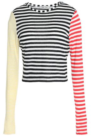 ALICE + OLIVIA Striped slub linen-blend jersey top