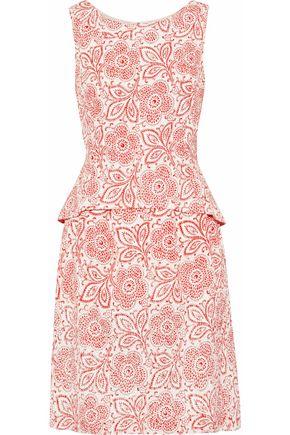 OSCAR DE LA RENTA Printed cotton-blend cloqué peplum dress