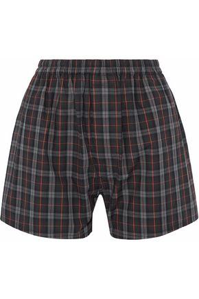 Woman Checked Cotton-Poplin Shorts Dark Gray