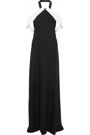 MIKAEL AGHAL Two-tone cady halterneck gown