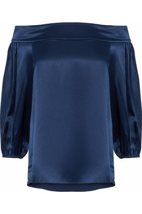 TIBI Off-the-shoulder silk-satin top