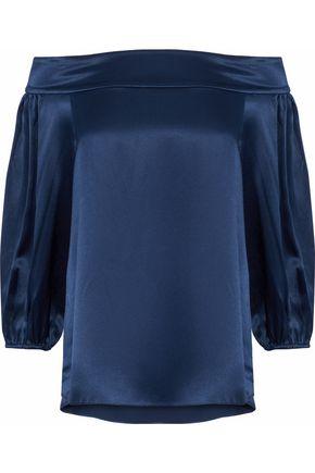 TIBI Off-the-shoulder silk-satin blouse