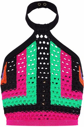 BALMAIN Cropped color-block crochet-knit halterneck top