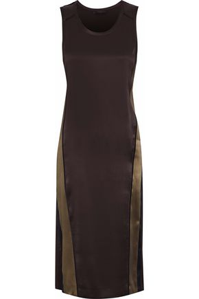 BELSTAFF Color-block silk-satin dress