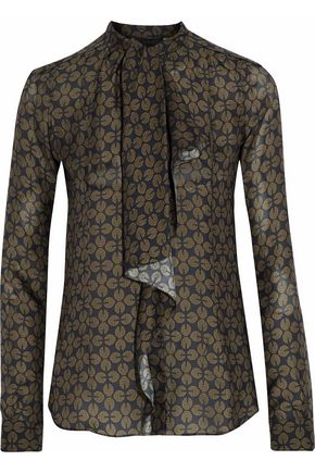 BELSTAFF Printed ruffled silk-georgette shirt